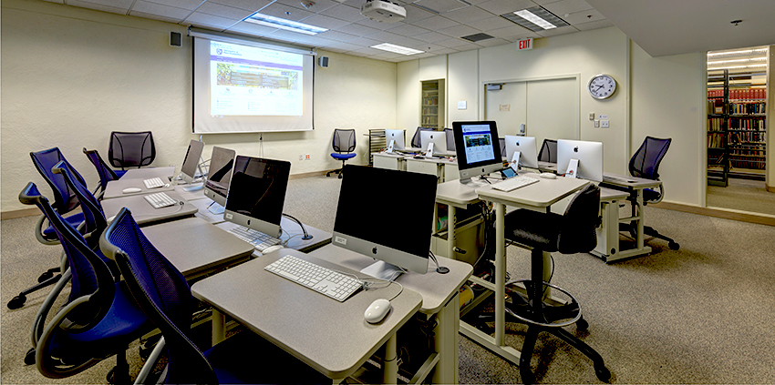 instruction room with computer stations