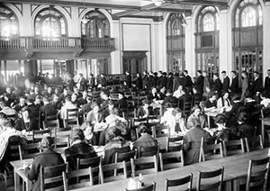 Commons interior, main dining hall at mealtime, 1922.