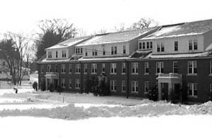 Gibbs Hall in the snow from across the Lower Quad, December 1959.