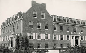 Hetzel Hall from the northeast with a view of both entrances, taken by Clement Moran ca. 1927.