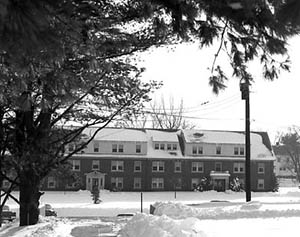 Hunter Hall in the snow from across the Lower Quad, December 1959.