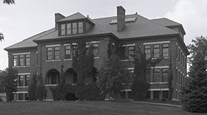 Morrill Hall from front lawn, taken by Clement Moran, September 1917.