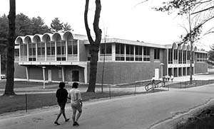 Stilling Hall with people walking by, ca. 1970s.