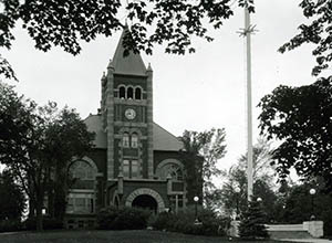 Thompson Hall and flagpole, taken by Clement Moran, summer 1930.