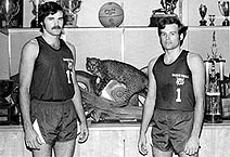 Athletes with mystery stuffed cat