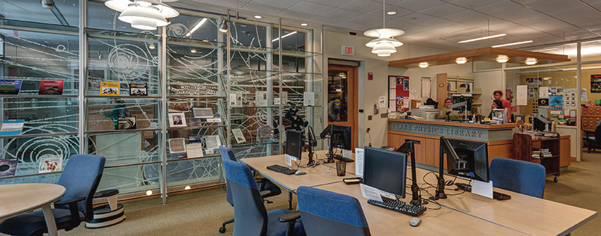 interior photo of the Physics Library