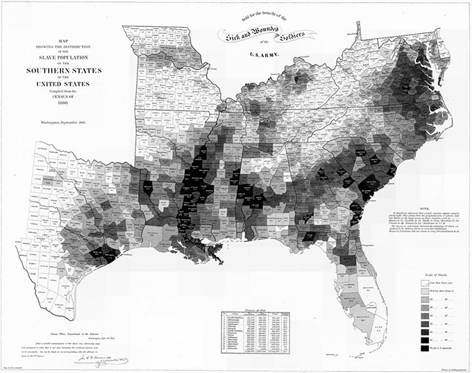 Map indicating density of slaves in the southern US in 1860