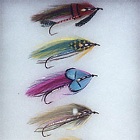 Four multicolored fishing flies