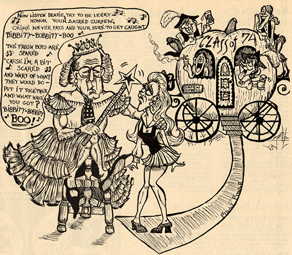Older man dressed as a fairy with a wand with a woman student and a group of debauched men in a pumpkin stagecoach