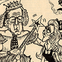 Cartoon of older man dressed as a fairy with a wand and a woman student