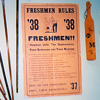 Senior Canes, freshman rules poster, and fraternity and sorority paddles