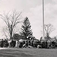 Assembly at UNH flagpole