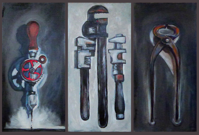 Painting of three hand tools side by side