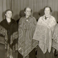 Three women in paisley
