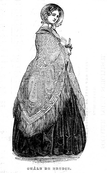 Drawing of woman in 19th century dress