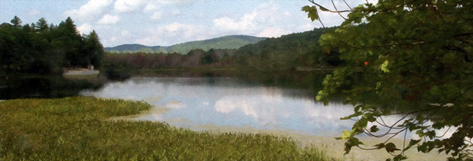 Vernal landscape of Eagle Pond, tress and mountains