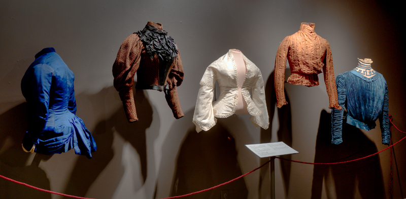 Victorian women's garments on display in the museum