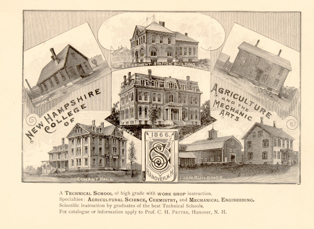 Poster showing campus buildings for New Hampshire College for Agriculture and the Mechanic Arts