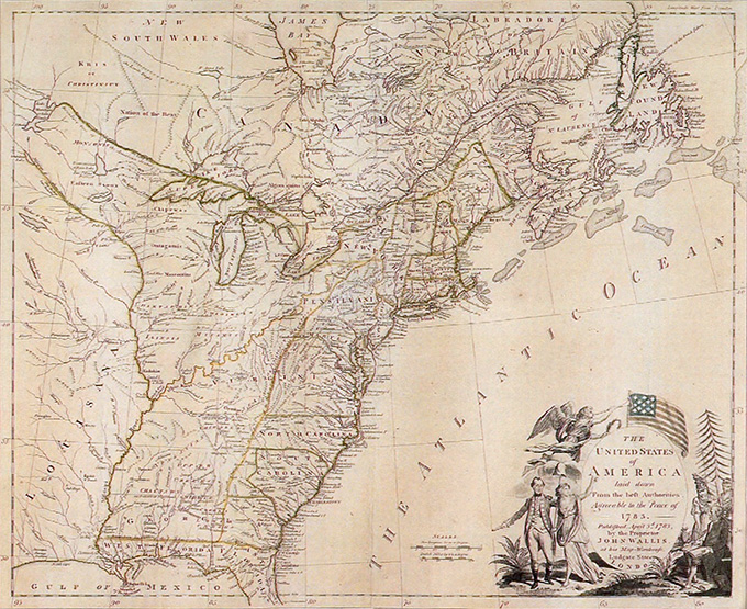 18th century map of New England