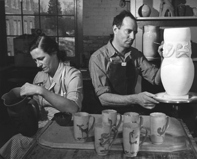 Mary and Ed making pots