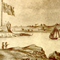 Old drawing of New Castle, NH