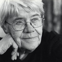 Black and white photo of older woman